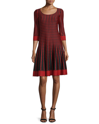 Dot Knit Scoop-Neck 3/4-Sleeve Dress, Caviar/Multi