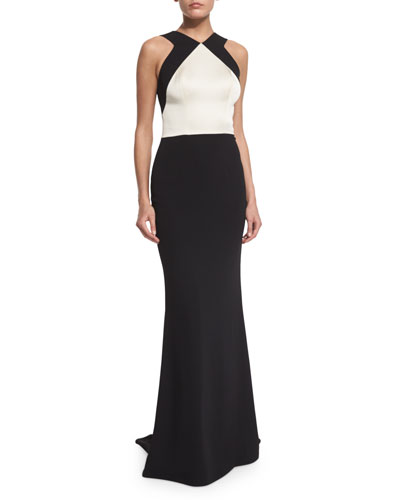 Classic Cady V-Neck Open-Back Gown, Caviar/Alabaster