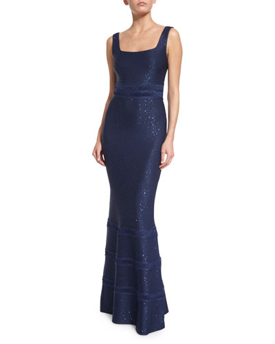 Sequined Knit Square-Neck Gown, Sapphire