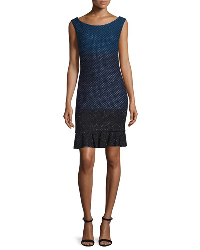 Sequined Degrade Knit Bateau-Neck Dress, Cadet/Navy/Caviar