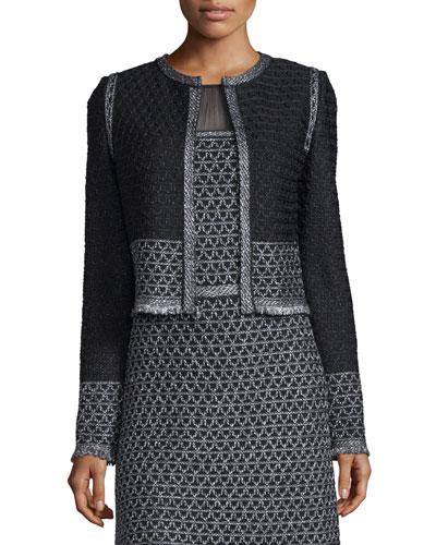 Shimmer Knit Jacket w/ Fringe, Caviar/Gunmetal