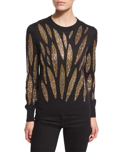 Embellished-Leaves Cashmere Sweater, Black