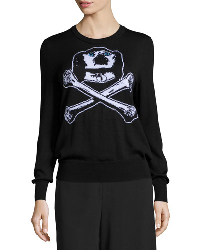 Dog & Bones Intarsia Cashmere Sweater, Black