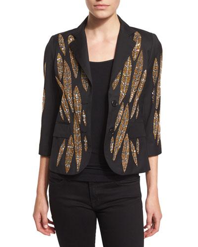 Embellished-Leaves Cashmere Blazer, Black