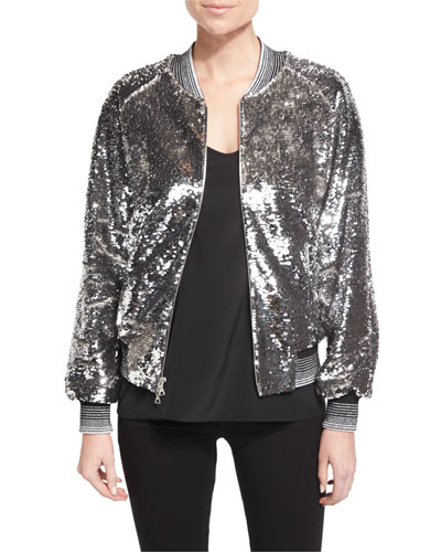 Sequined Bomber Jacket W/Striped Trim, Silver