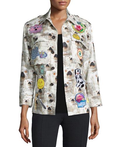 Doggie-Print Cashmere Army-Style Jacket, White