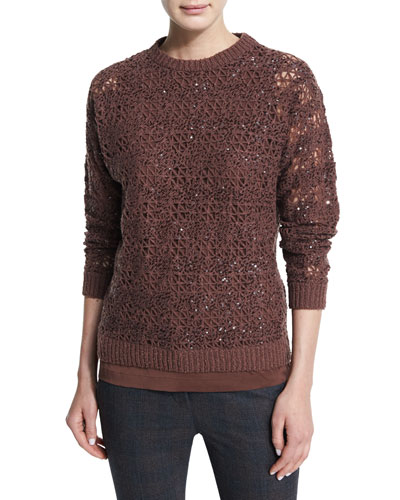 Embellished-Crochet Jewel-Neck Sweater, Henna