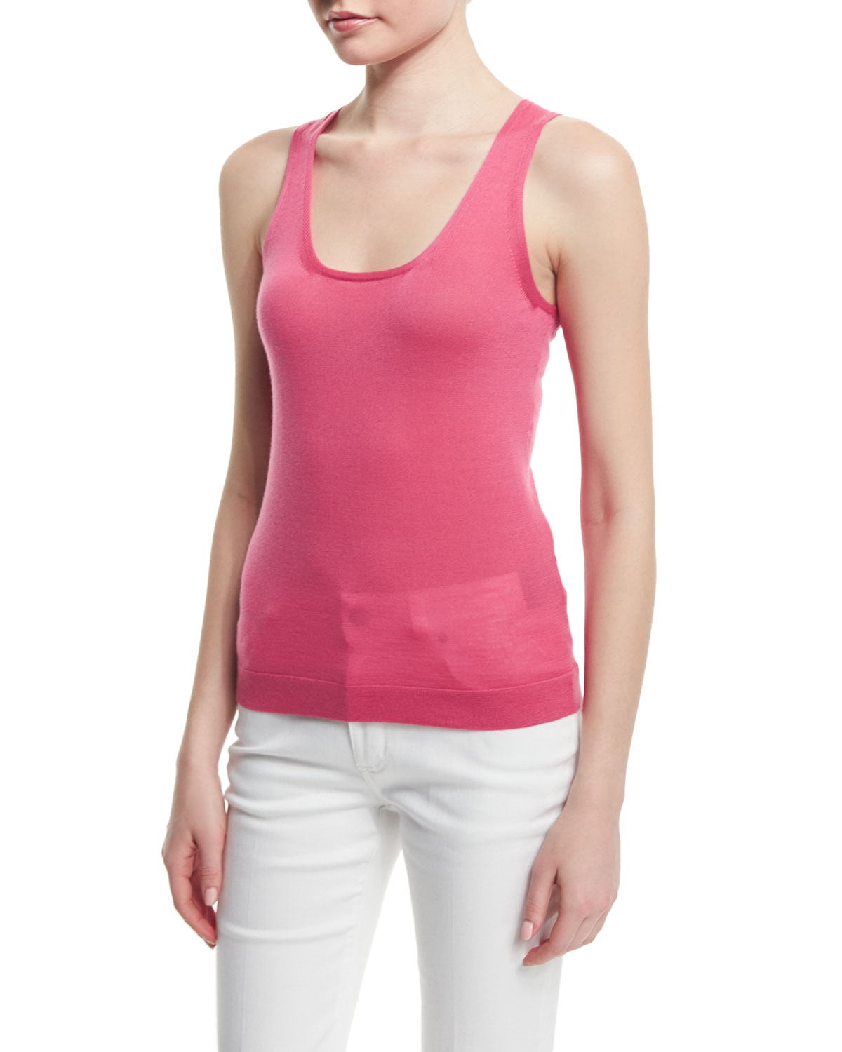 Scoop-Neck Cashmere Tank, Bubblegum Pink
