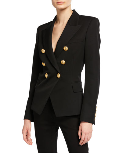 Classic Double-Breasted Blazer, Black