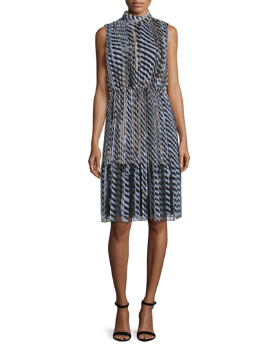 Layered Stencil-Stripe Sleeveless Dress, Caviar/Multi