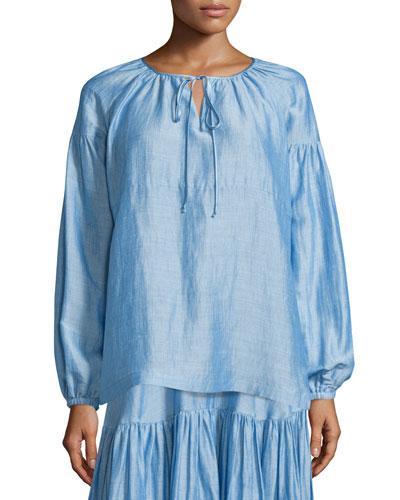 Long-Sleeve Tie-Neck Peasant Blouse, Light Blue