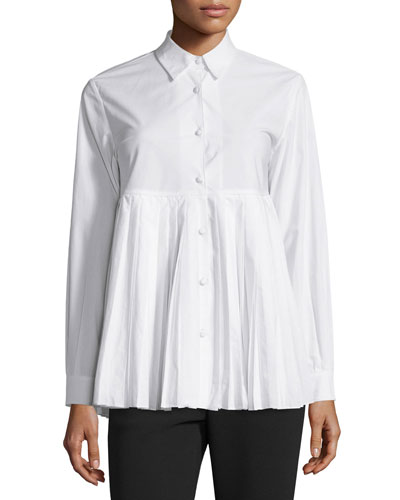 Button-Front Plisse-Hem Blouse, White