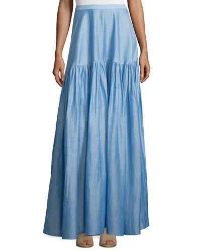 High-Waist Tiered Maxi Skirt, Light Blue