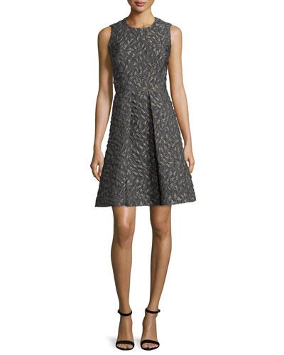 Sleeveless Jacquard A-Line Dress, Gray