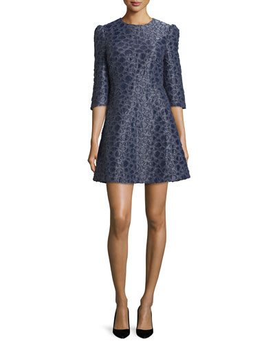 3/4-Sleeve Textured Mini Dress, Navy