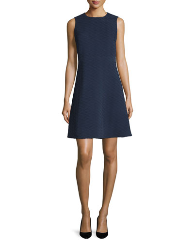 Sleeveless Textured A-Line Dress, Navy