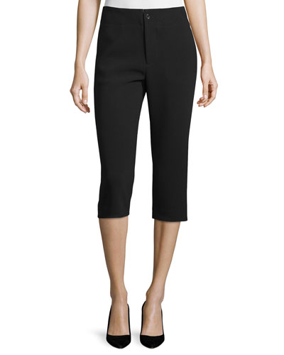 Mid-Rise Slim Cropped Pants, Black