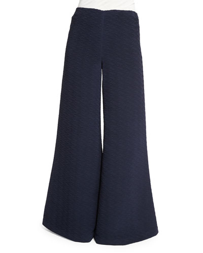 Textured Wide-Leg Flare Pants, Navy