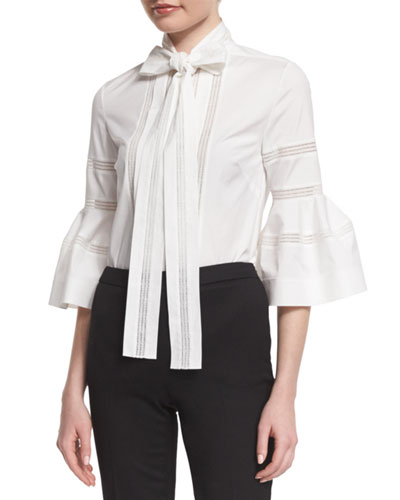 Bell-Sleeve Tie-Neck Cotton Blouse, White
