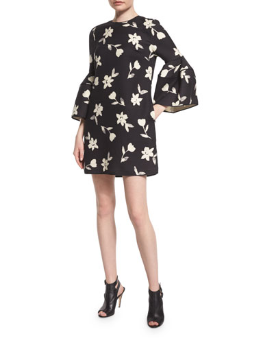 Bell-Sleeve Garden Party Dress, Black/White