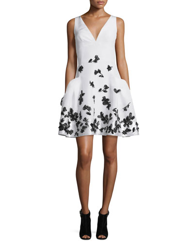 Feather-Embellished Faille Cocktail Dress, Ivory/Black