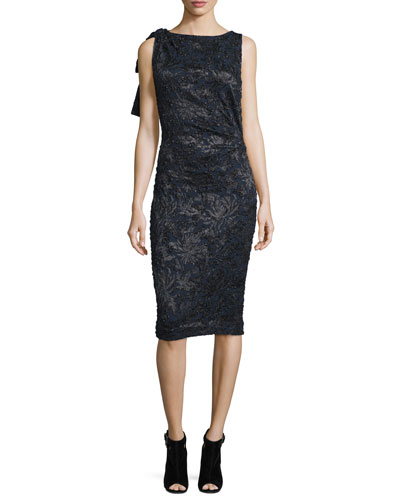 Sleeveless Embroidered Cocktail Dress, Black/Navy