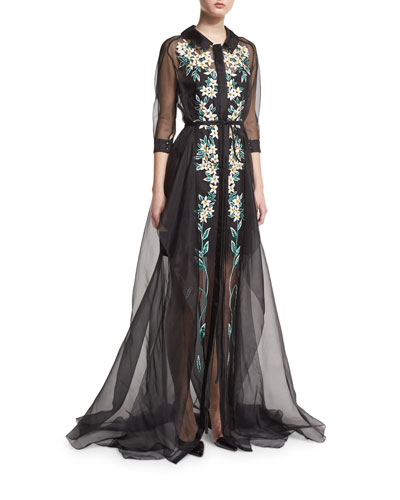 Floral-Embroidered Organza Trench Gown, Black