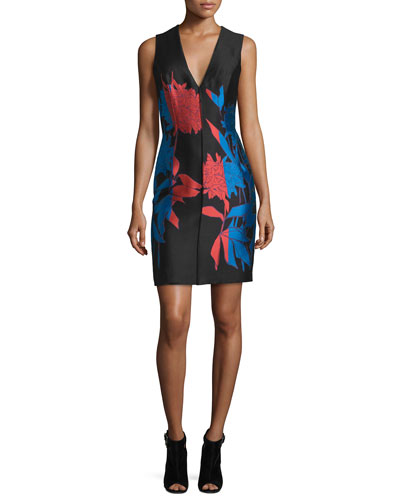 Sleeveless Floral-Print Sheath Dress, Cayenne/Black/Blue