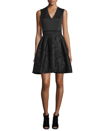 Sleeveless Combo Fit-&-Flare Dress, Black