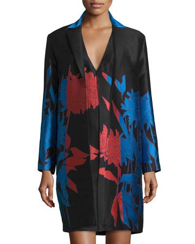 Open-Front Floral-Print Jacket, Cayenne/Black/Blue