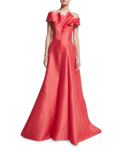 Off-The-Shoulder Pleated Ball Gown, Cayenne