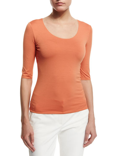 Half-Sleeve Scoop-Neck Tee, Burnt Sienna