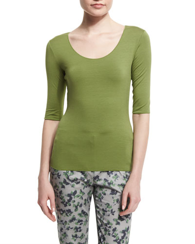 Half-Sleeve Scoop-Neck Tee, Green