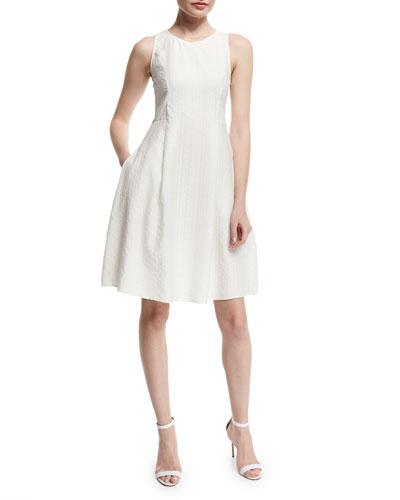 Sleeveless Lattice Burnout Dress, White