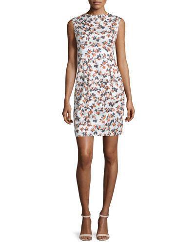 Sleeveless Printed Sheath Dress, Sienna/Multi