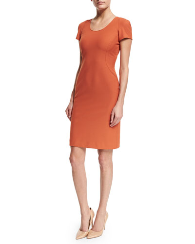 Short-Sleeve Seamed Sheath Dress, Burnt Sienna