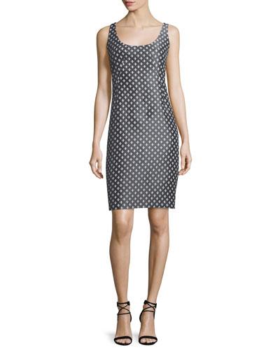 Diamond-Print Tank Dress, Gray/Multi