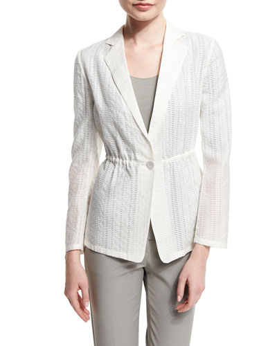 One-Button Cinch-Waist Burnout Jacket, White