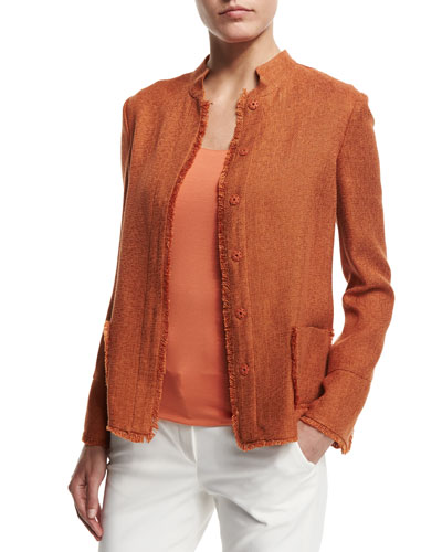 Snap-Front Fringe-Trim Jacket, Burnt Sienna