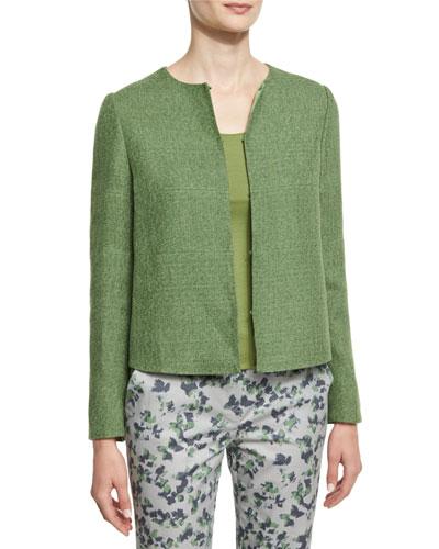 Long-Sleeve Round-Neck Tweed Jacket, Green