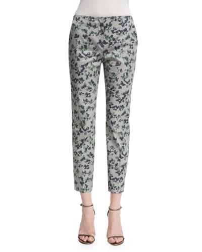 Mid-Rise Printed Capri Pants, Green/Multi