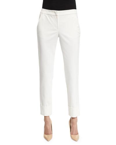 Stretch-Cuff Slim-Leg Ankle Pants, White