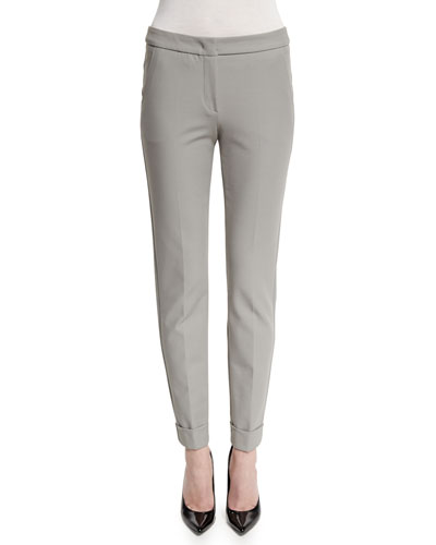 Stretch-Cuff Slim-Leg Ankle Pants, Light Gray