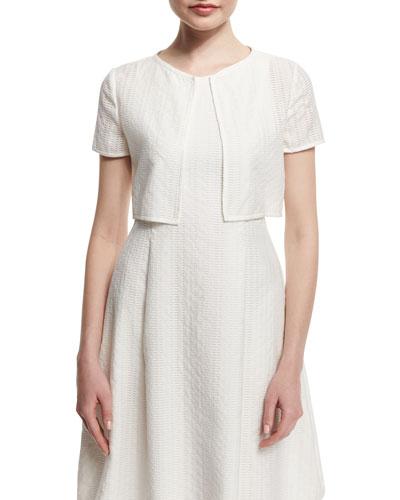 Short-Sleeve Lattice Burnout Bolero, White