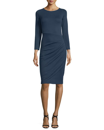 Bracelet-Sleeve Ruched-Skirt Dress, Indigo Blue