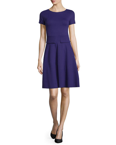 Short-Sleeve Trapunto-Waist Dress, Imperial Purple