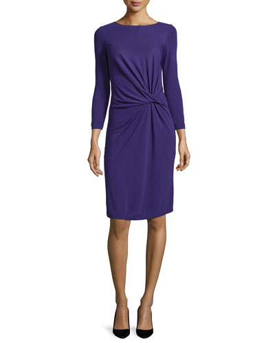 Long-Sleeve Knotted Sheath Dress, Imperial Purple