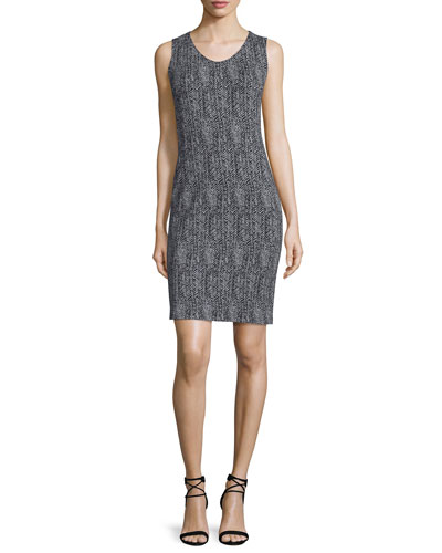 Sleeveless Herringbone Sheath Dress, Black/Multi