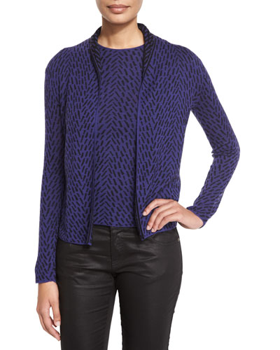 Intarsia Open Wool Cardigan, Imperial Purple/Multi