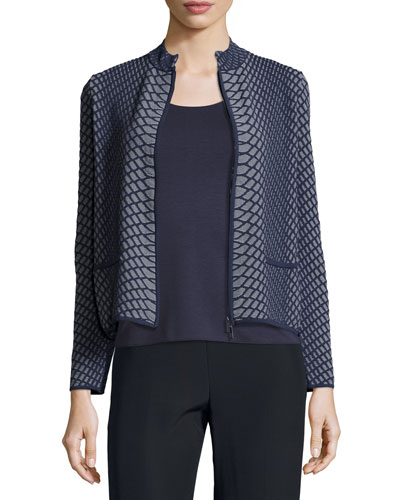 Reptile-Knit Zip-Front Jacket, Gray/Multi